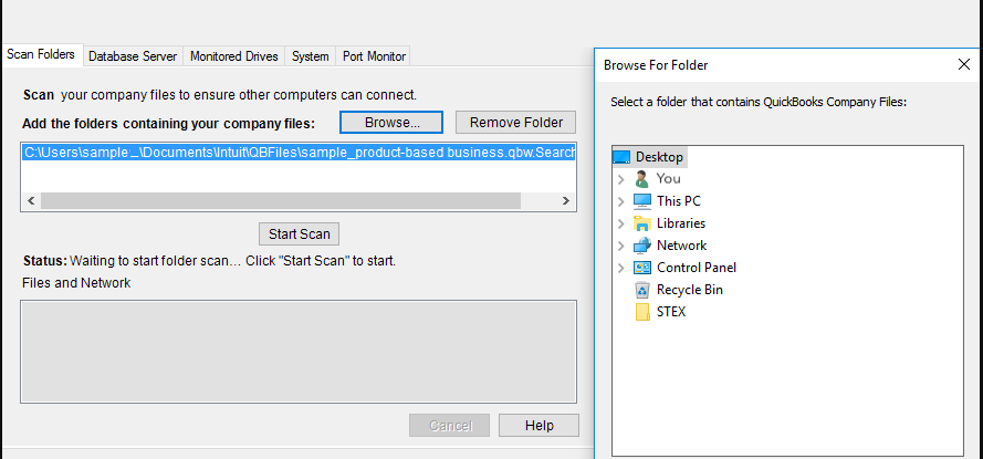 Scan Your File via QB Database Server Manager