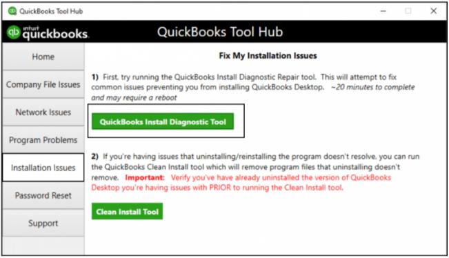Repair via QuickBooks Install Diagnostic Tool