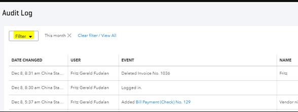 Filter - Undelete an Invoice in QuickBooks