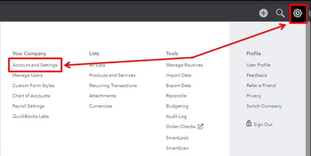 Use Cost Centers in QuickBooks Account and Settings