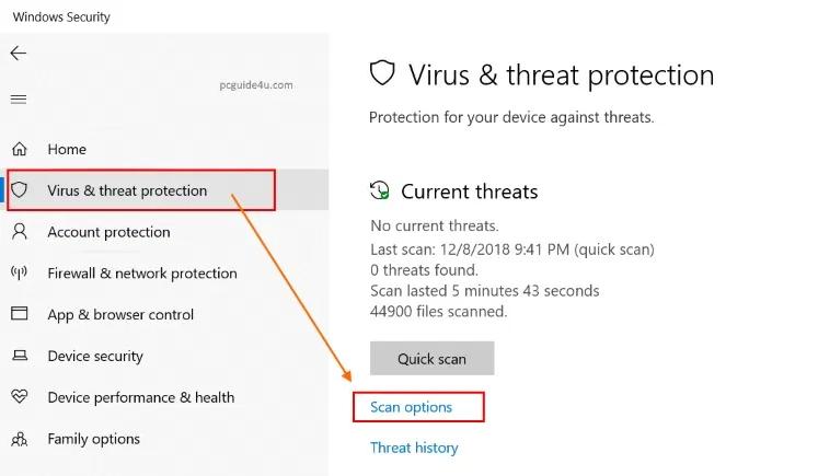 Run Malware Scan on Windows