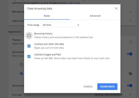 Clear Cache in Google Chrome