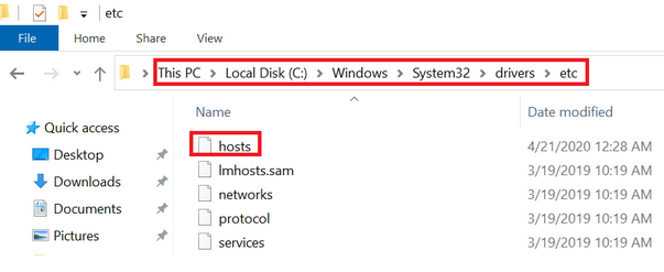 Addition of Your Server to Hosts File of Windows