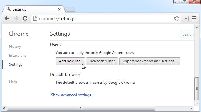 Add a New User in Chrome