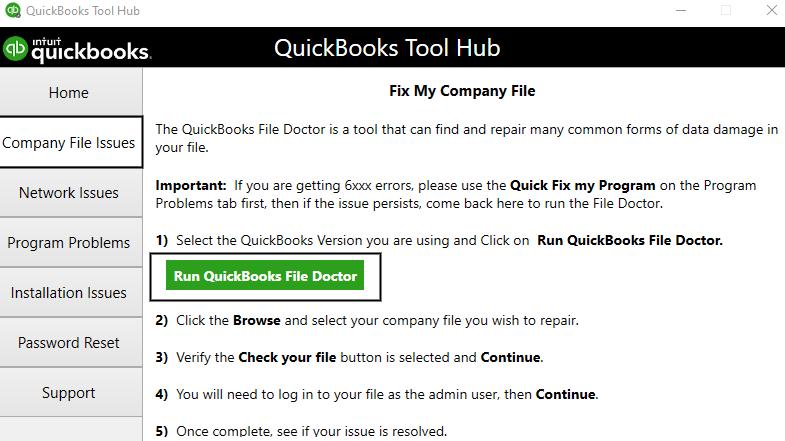 Run QuickBooks file doctor Company file issue