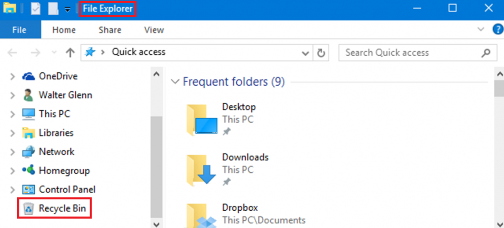 Go to Recycle Bin to Restore Deleted Files
