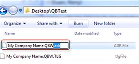 Use Original .TLG file with .QBW.ADR File
