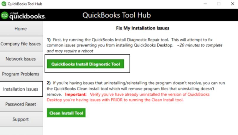 Run QuickBooks Install Diagnostic Tool