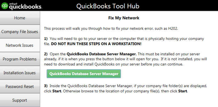 Run Database Server Manager from QuickBooks Tool Hub