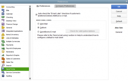 Setup Outlook Email in QuickBooks
