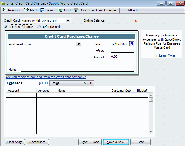 Enter Credit Card Charges in QuickBooks