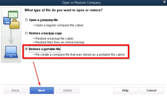 Open QuickBooks Portable Company File