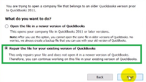Repair the File for Your Existing Version of QuickBooks