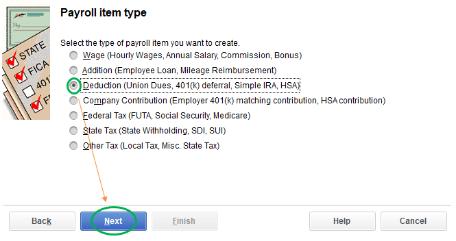 Payroll item type
