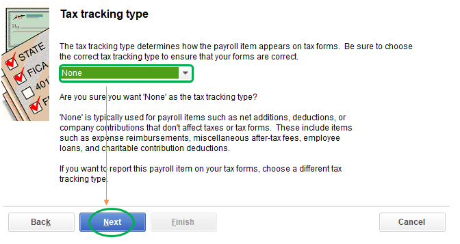 Tax tracking type
