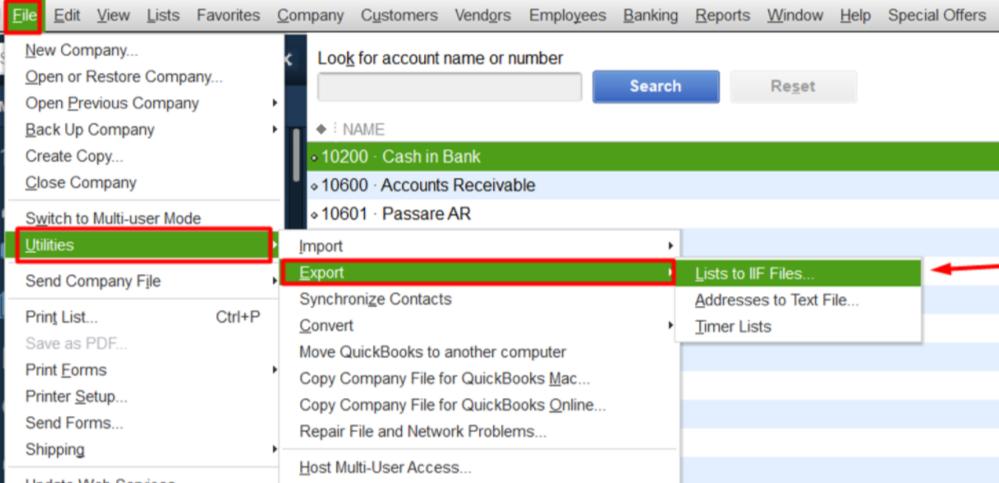 Export Chart of Accounts from QuickBooks Desktop