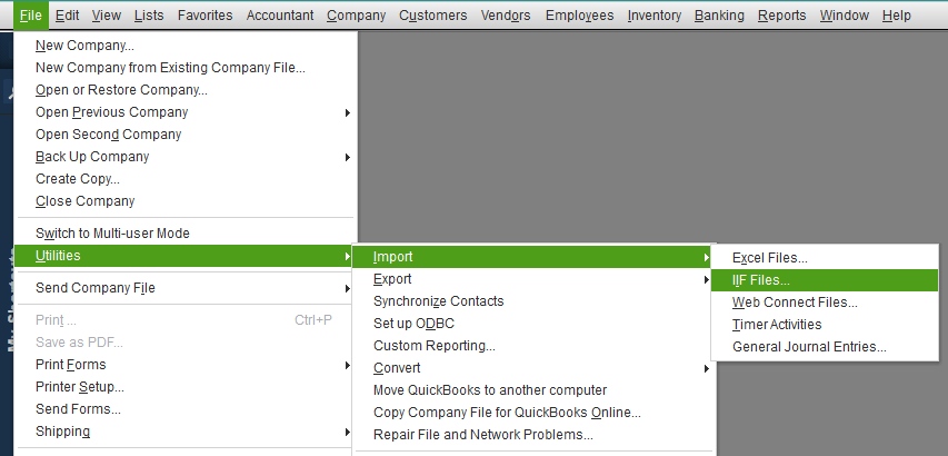 Import IIF Files for Chart of Accounts