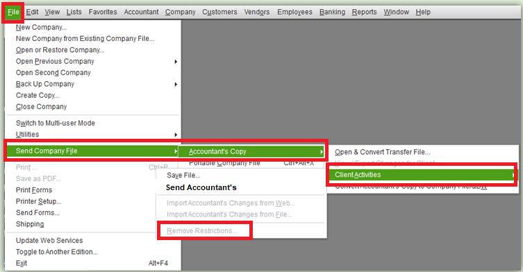 Remove Accountant's Copy Restrictions in QuickBooks Desktop