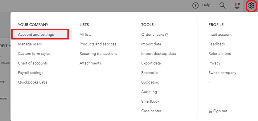 QuickBooks Account and Setting