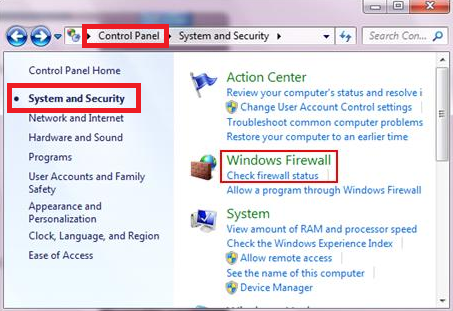 Disable the Windows Firewall