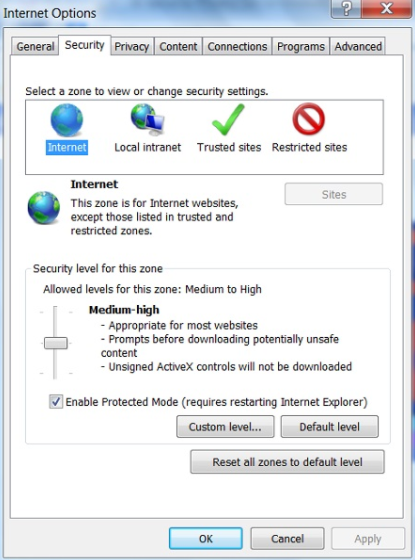 Configure Internet Explorer to resolve error 15107