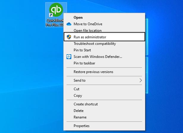 Run QuickBooks as an Administrator