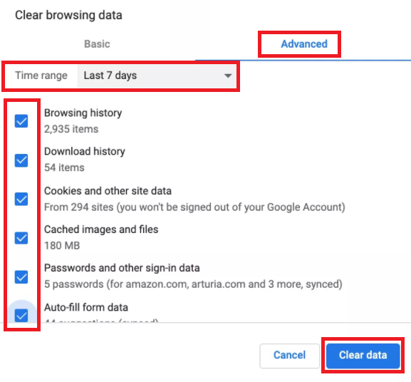 Clear Cache, Cookies, and Browsing Data to resolve error loading transaction