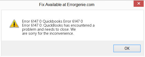 QuickBooks error message 6147 0