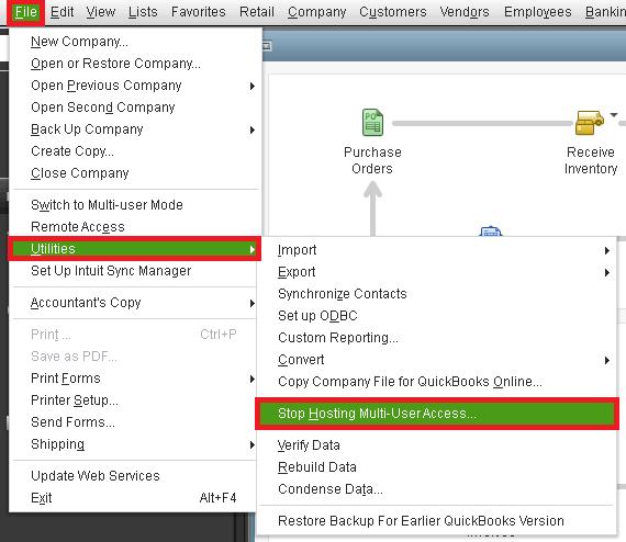 Stop Multi-User Mode to fix QuickBooks error 6147 0