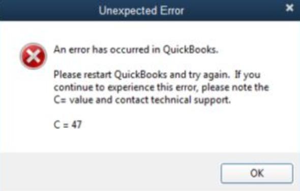 quickbooks c 47 error message