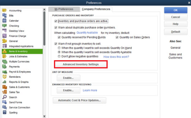 Turn Off Advanced Inventory in QuickBooks