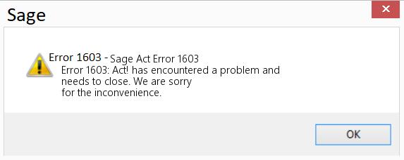 Sage Error Code 1603
