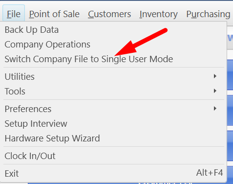 Switch Company file to single user mode