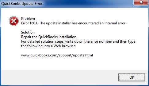 QuickBooks 1603 error message