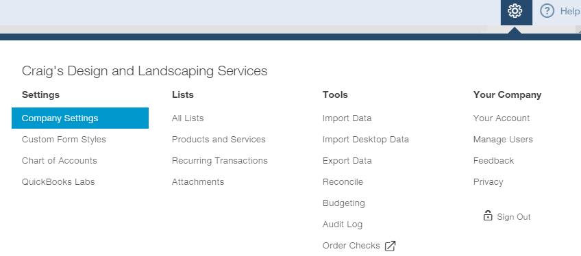 QuickBooks Online Company Settings
