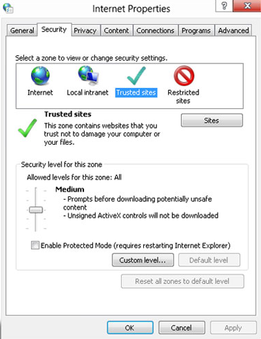 Add Intuit as Trusted Website from Internal Explorer on Window