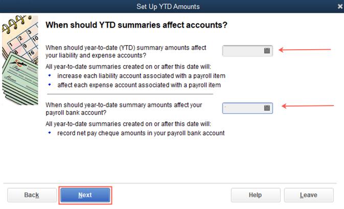 Set up YTD amounts date